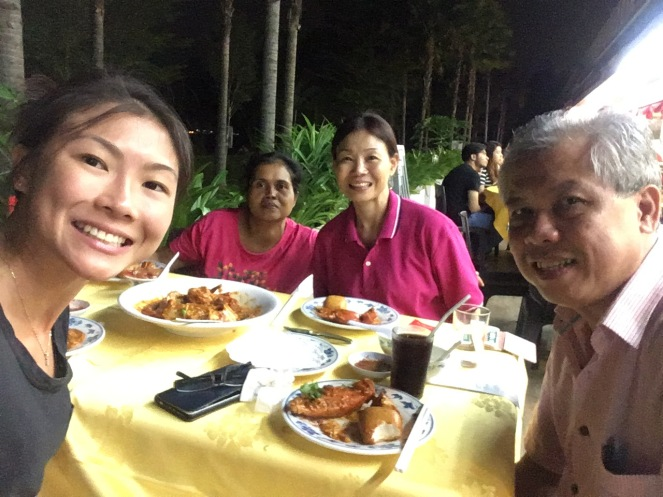Family and chilli crab